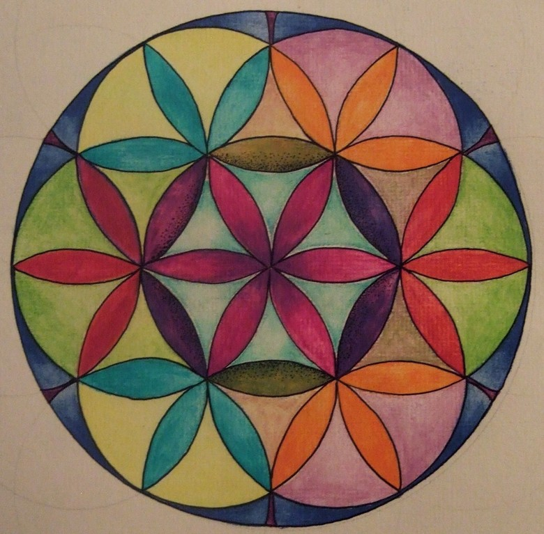 This was my first doodle with this design, watercolour pencils on paper, August 2012