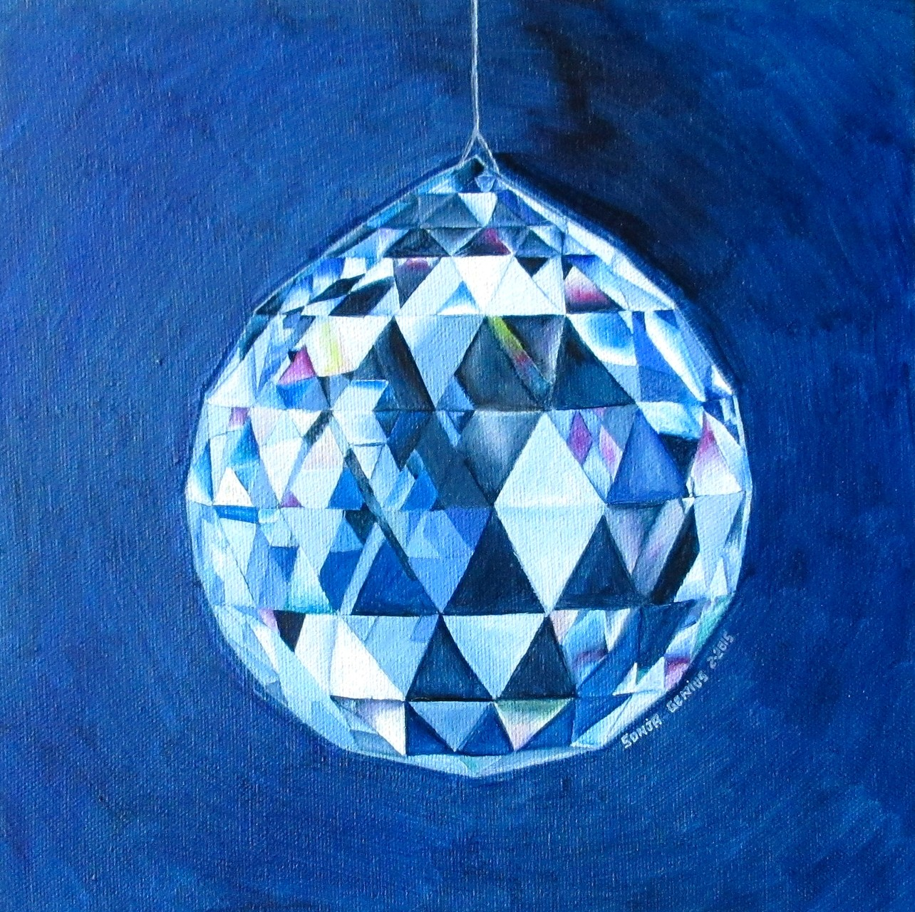 """(SOLD 2016)----""""Crystal"""", oil on canvas 10x10, Feb.2016 - (1-2-65)"""