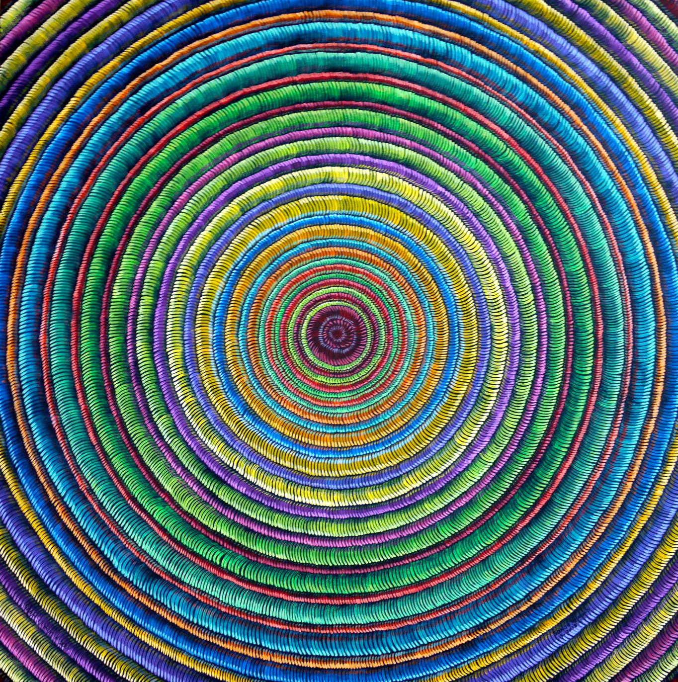 #472 - Fibrous Series (rainbow ripples) oil on canvas 24x24, 6/18 (6)