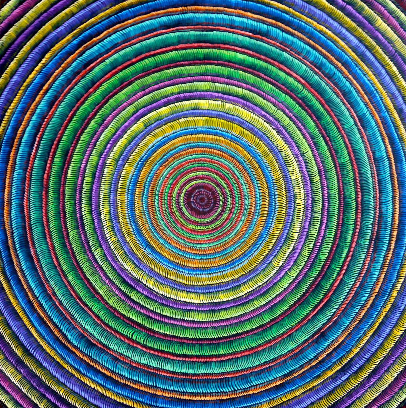 #472 - Fibrous Series (rainbow ripples) oil on canvas 24x24, 6/18 (6)