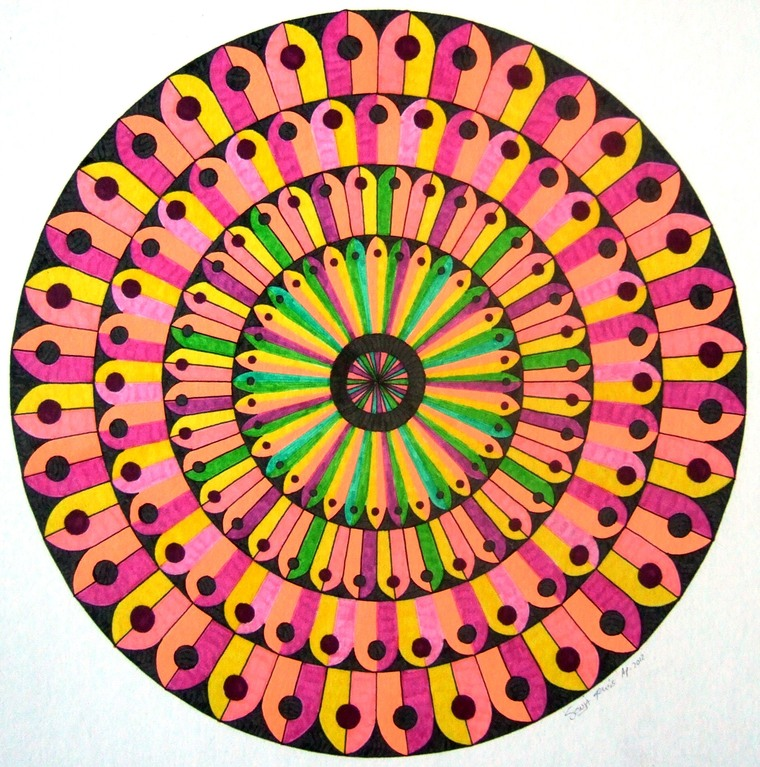 Untitled Doodle, marker and gel pen on white card, April 2012 (inspired by Mary Cadman)