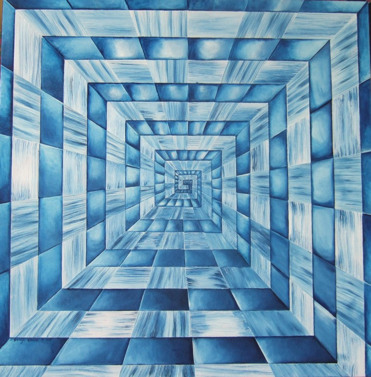 "(Squares/Rays II) ""House of Mirrors"", oil on canvas, 30x30, Oct.2011"