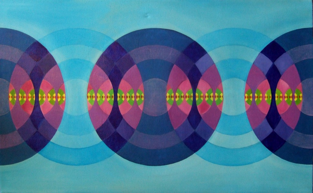 """Beacon"" (Circle-inside-circle I), oil on canvas, 22x36 (Feb.2012)"
