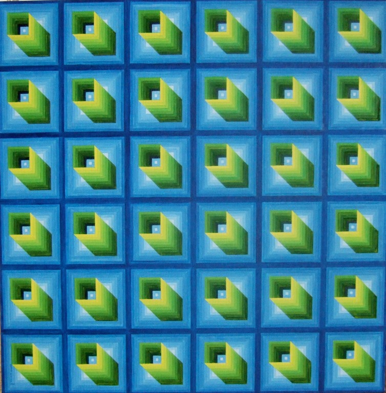 Untitled 4 (inspired by Yvaral Vasarely), oil on canvas, 36x36, Feb.2012