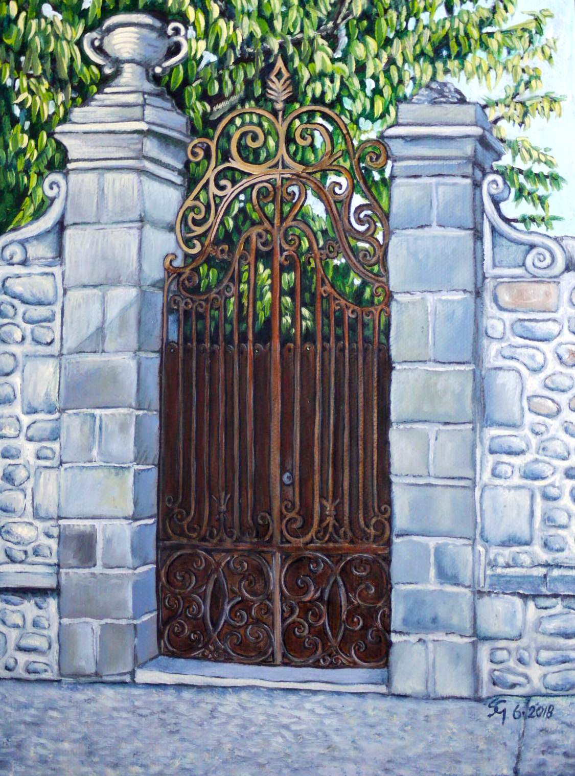 #467 - Doors of Europe Series IV, oil on canvas 9x12, 6/18 (3)
