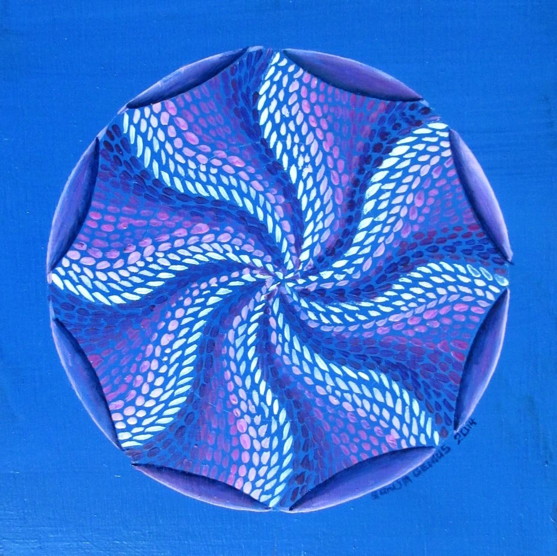 Magenta Mandala doodle I, oil on cradled wood panel 6x6, Sept.2014