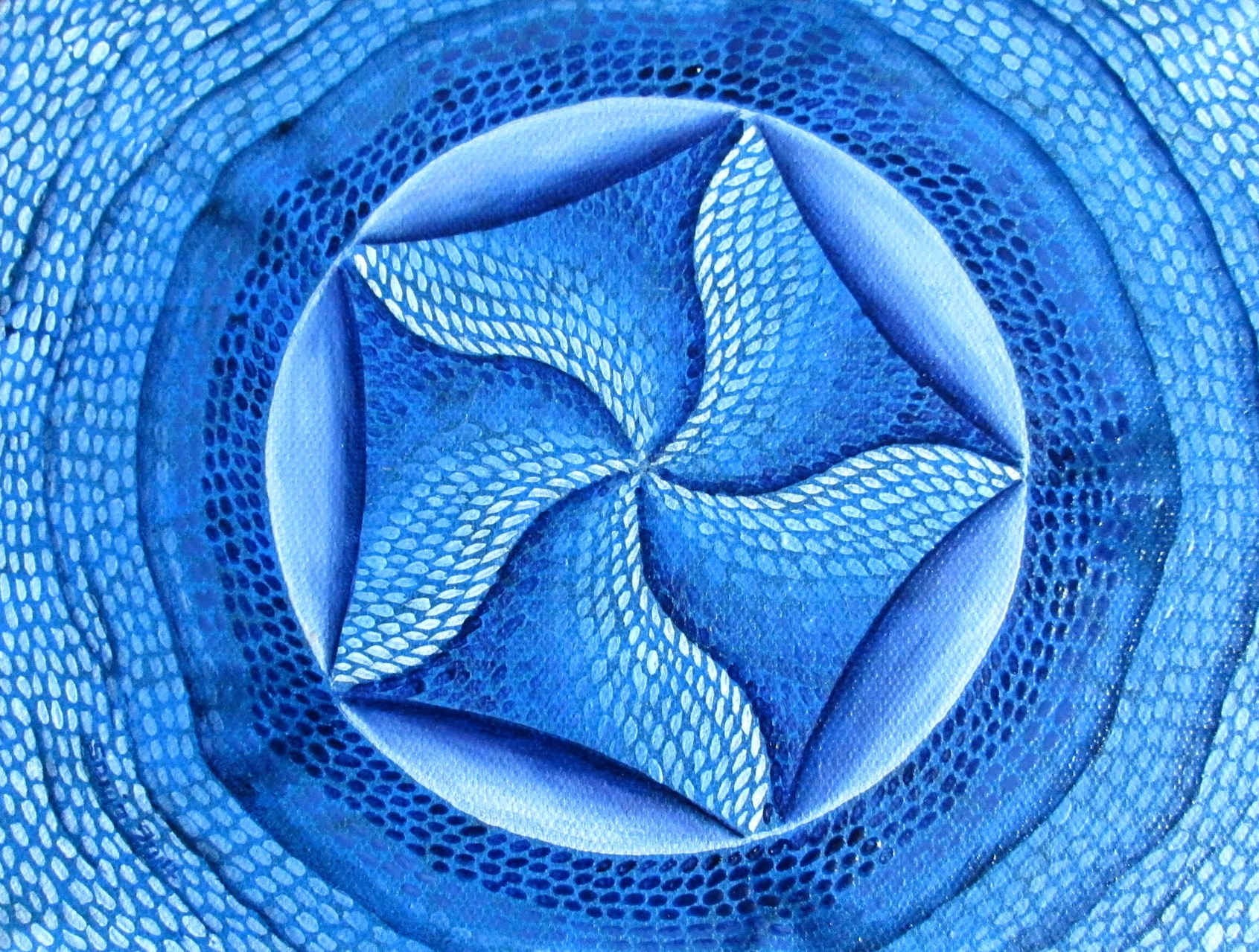Blue Mandala doodle II, oil on cradled wood board 6x8, Sept.2014