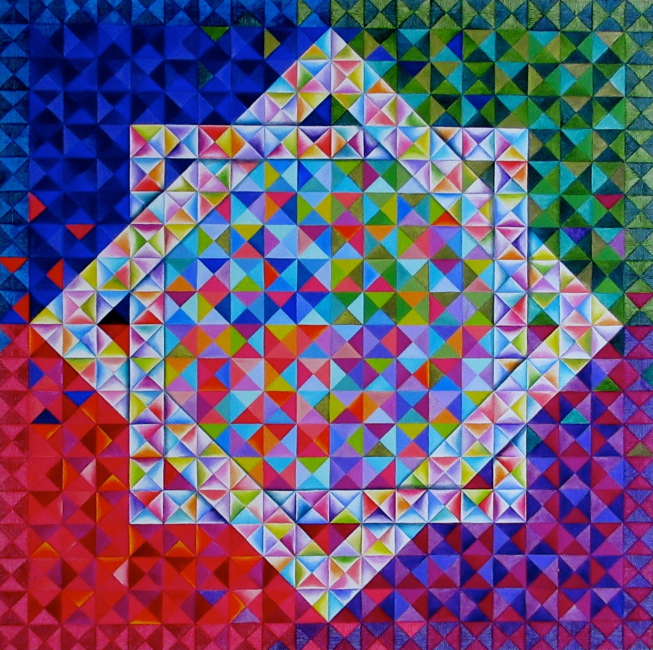"""Kaleidoscope II"" (Square Affair Series VII), oil on canvas, 30x30, 2012"