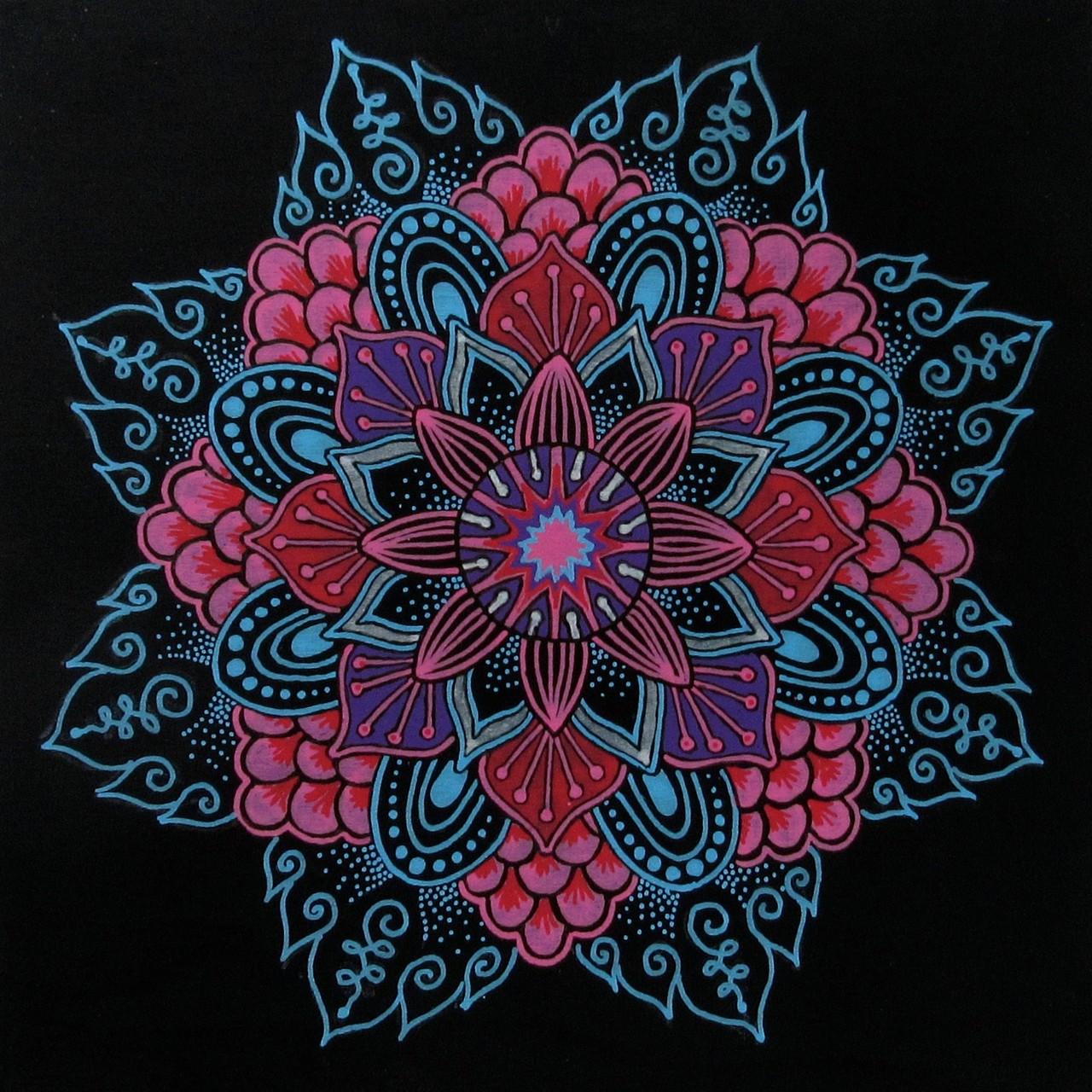 "NFS---- Mandala doodle 1, acrylic markers on cradled wood board 6""x6"", Dec.2015"
