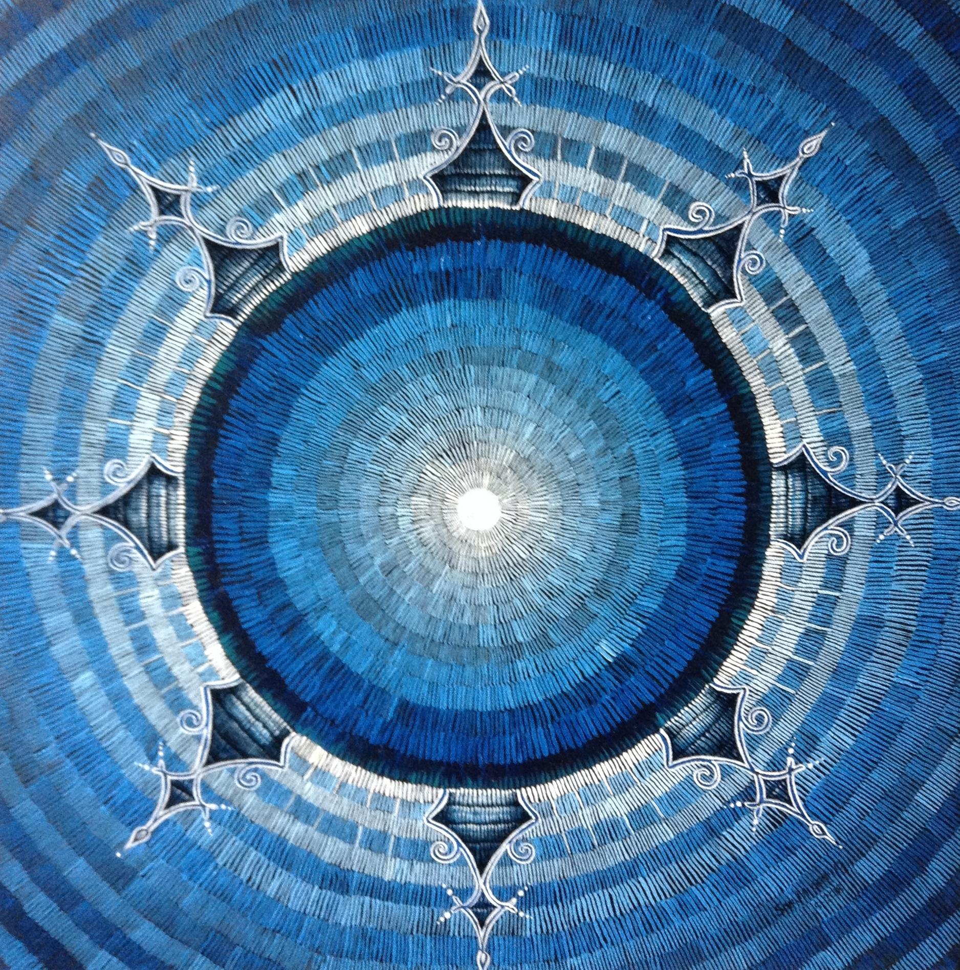 #461 - Untitled Mandala (Fibrous Series), oil on canvas 20x20, April 2018 (4)