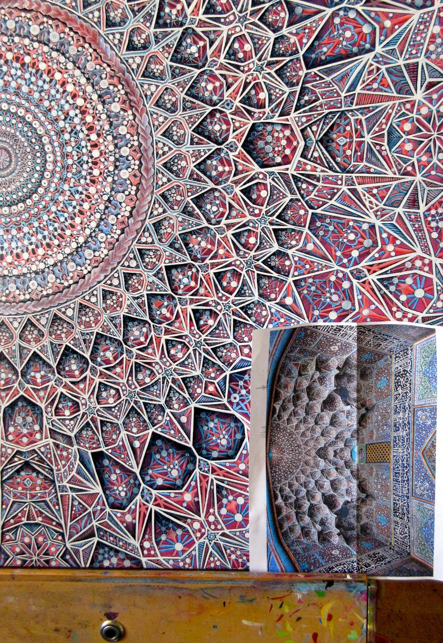 """The Moon"" detail and pic of inspiration... ceiling in the Sheikh Lutf Allah Mosque in Iran"