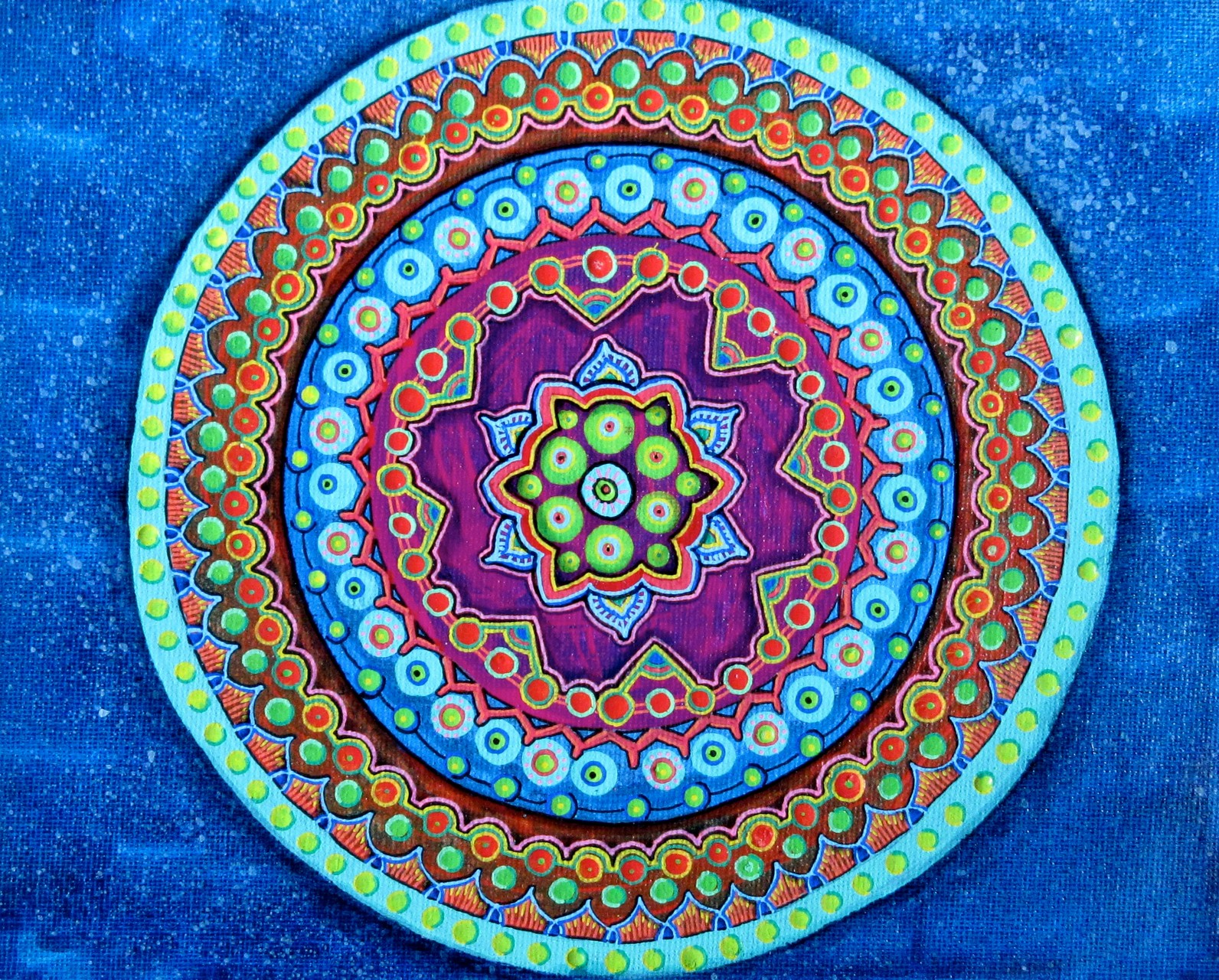 Dot Mandala, acrylic & oil on canvasboard 8x10, December 2015