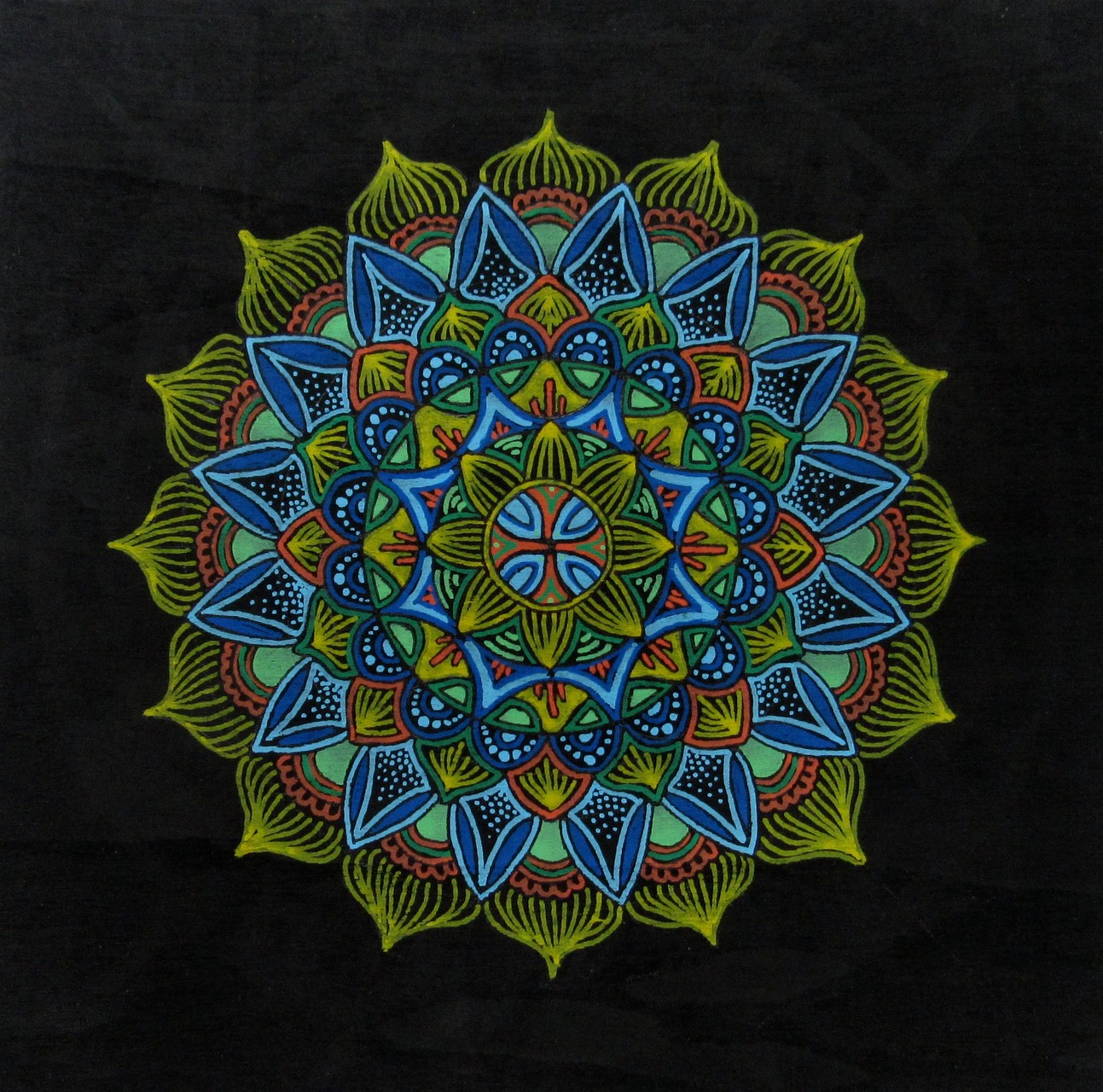 "SOLD 4/16----Mandala doodle 2, acrylic markers on cradled wood board 6""x6"", Dec.2015"