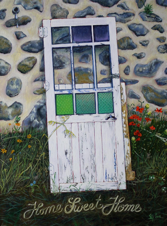 "#476 - ""Home Sweet Home"" (Doors of Europe Series V, Orbaneja/Spain) oil on canvas 12x16, 9/18 (3-4)"
