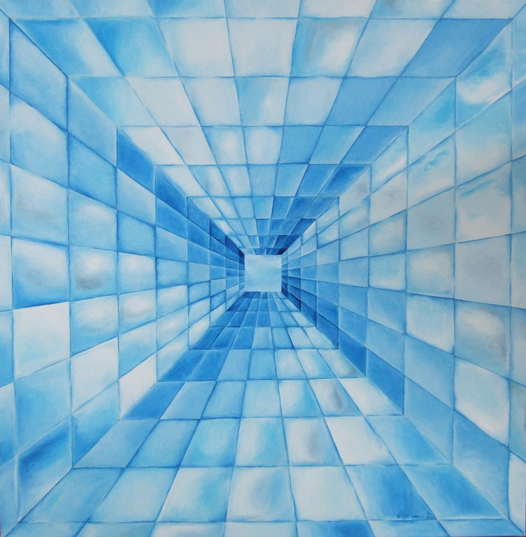"(Squares/Rays Series I) ""Looking Glass"" - oil on canvas, 30x30, 2011"