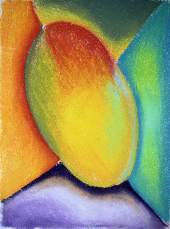"This was one of my first attempts to figure out using soft pastels: Alien, pastels on paper, 9""x12"", 2007"