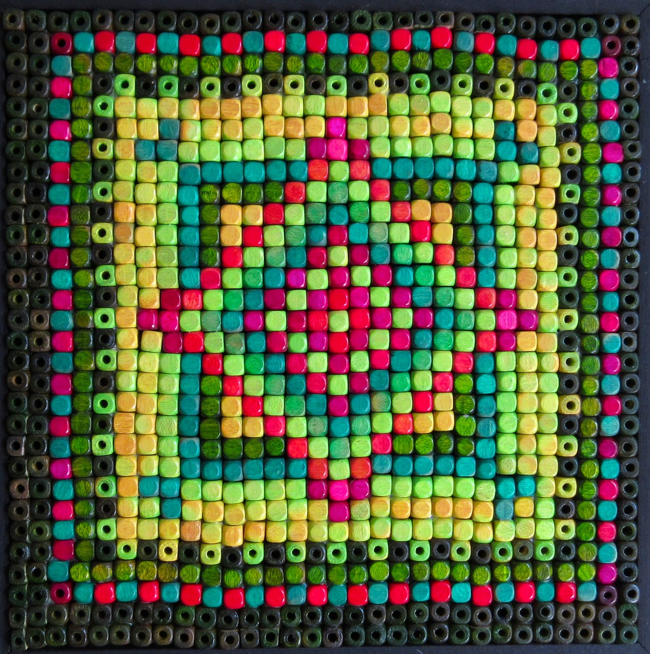 "wooden beads on cradled wood board 6""x6"", September 2015"