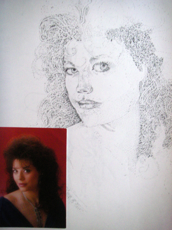 Debbie - pointillism ink on paper (unfinished)