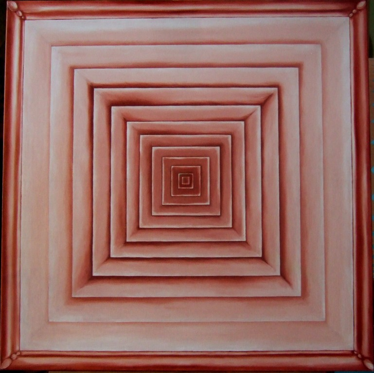 "(Squares/Rays IV) ""Reincarnation"", oil on canvas, 30x30, May 2012 - the square symbolizes the material world and the layers are the lives a soul will experience before it no longer needs to materialize...."