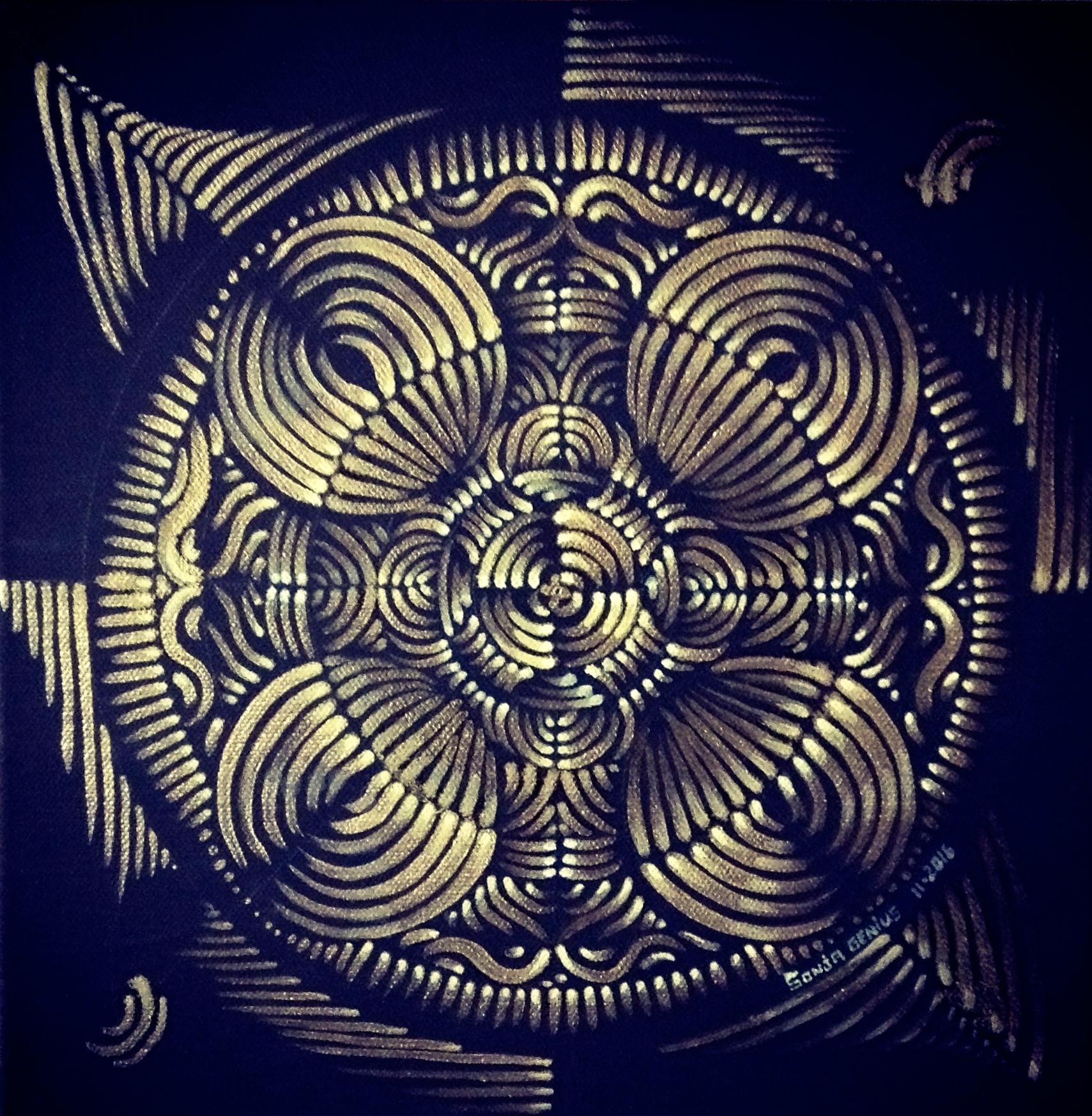 SOLD 10/16----Golden Mandala (inspired by Jamie Gaviola), 14K gold oils on 12x12, Oct2016  (1/2)