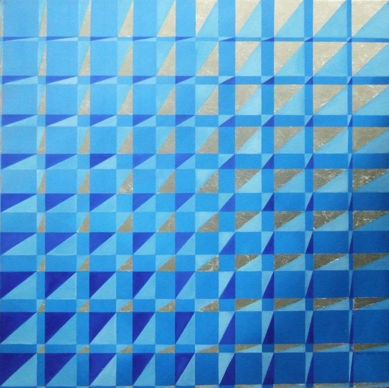 """Foursome"", oil and silver foil on canvas, 24x24, July 2012 - (Series 4) here I used 4 different colours."