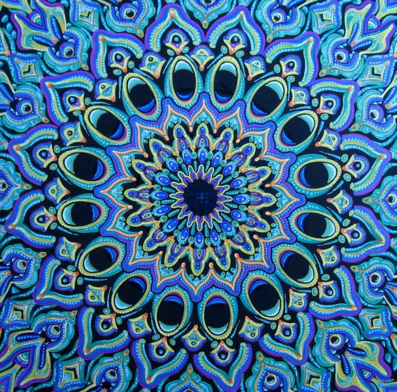 "SOLD 4/16----""Peacock Mandala"", oil paint markers on canvas 16x16, October 2015 - Inspired by Michael Garfield"