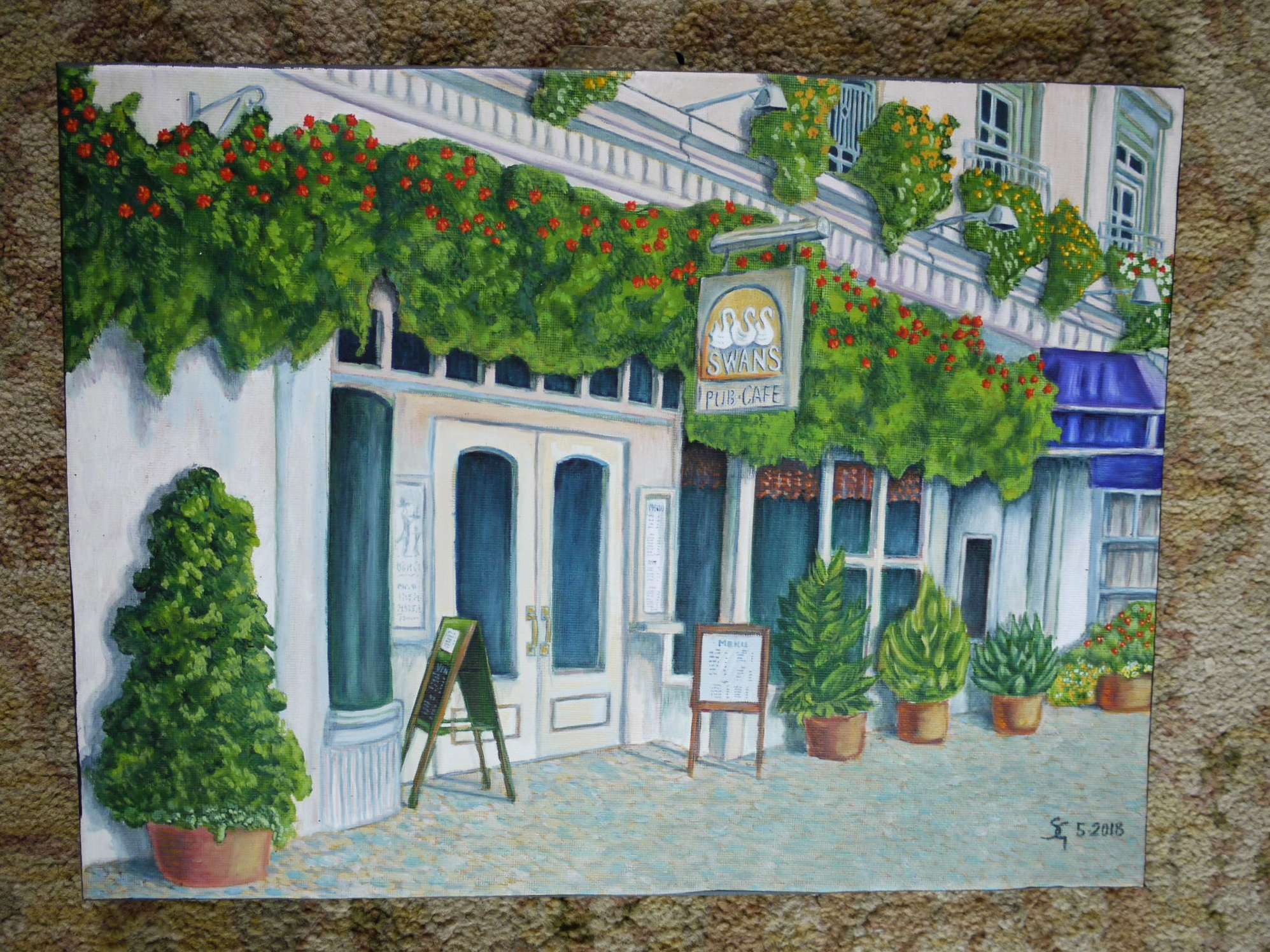 #469 - Bistro, oil on pre-printed canvas 12x15, 5/18