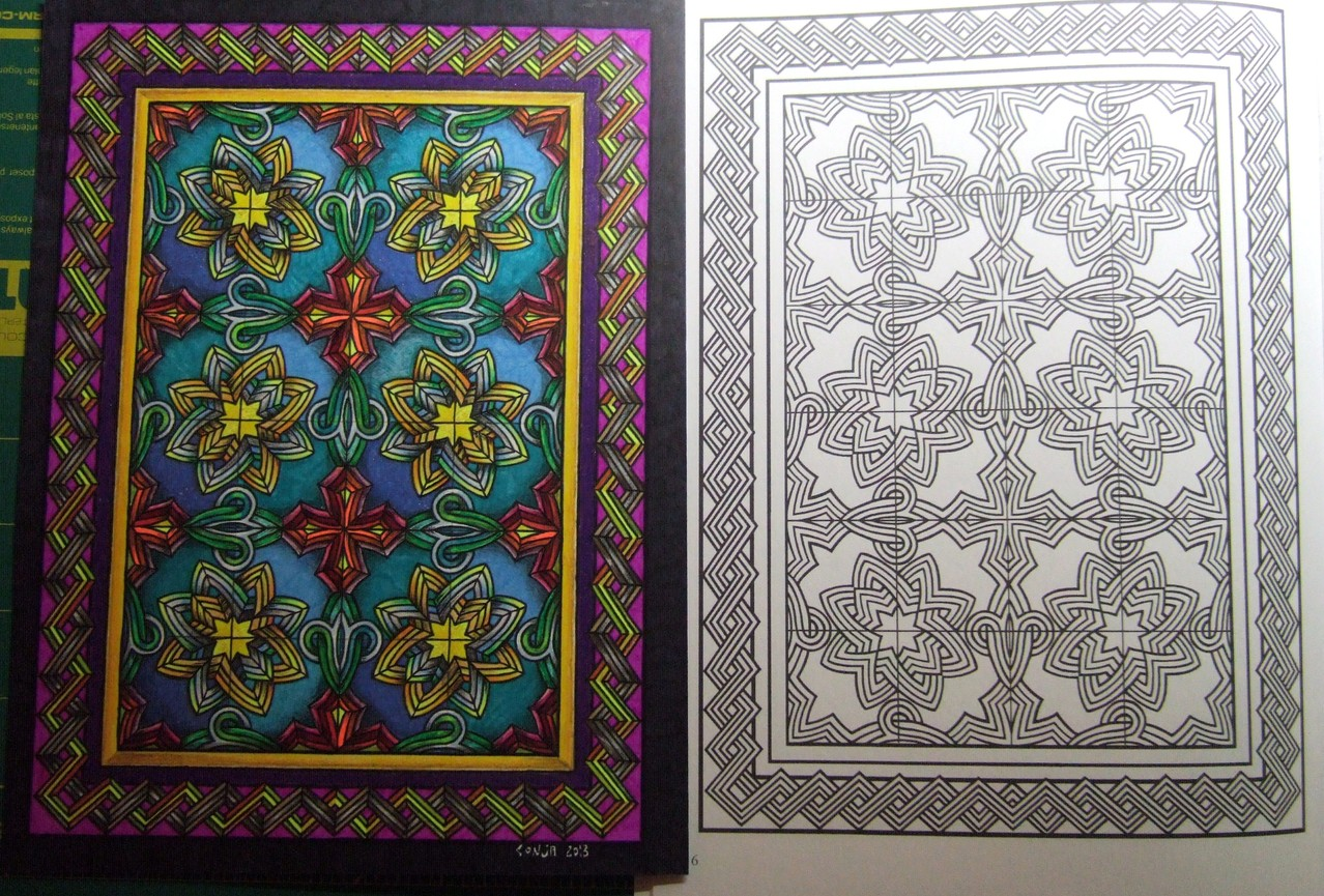"Version 5 - Decorative Tile Design coloring book by Marty Noble... ""before & after"""