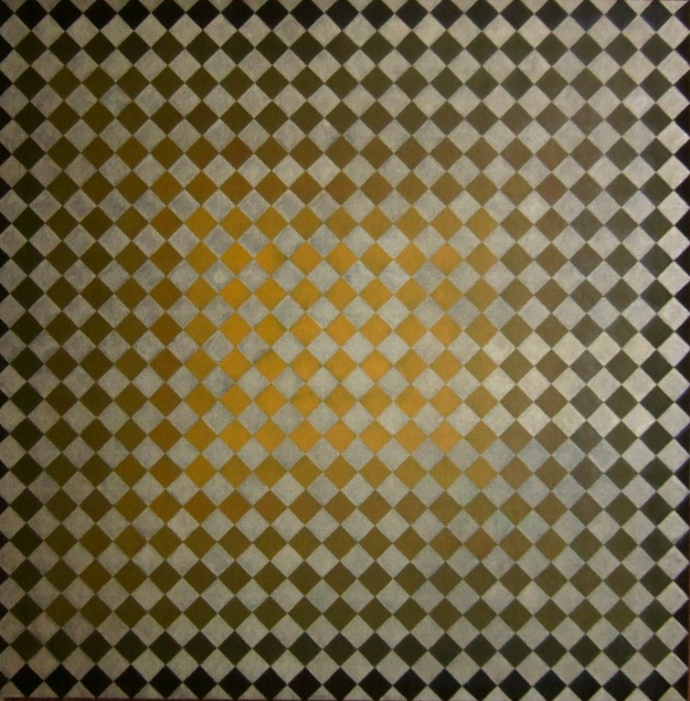 """Glow"" (Square Affair Series), oil on canvas 30x30, April 2012 - inspired by Vasarely's ""Jak"""