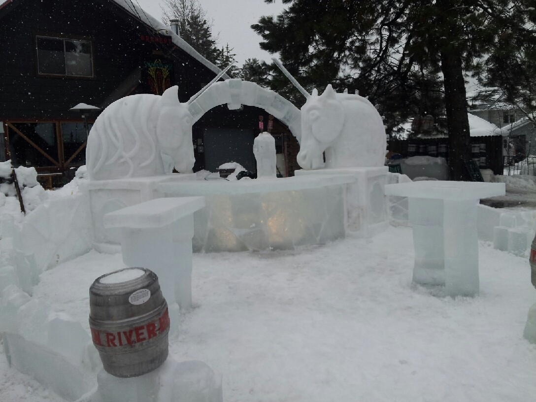 This was an outside bar with the taps build directly into the ice