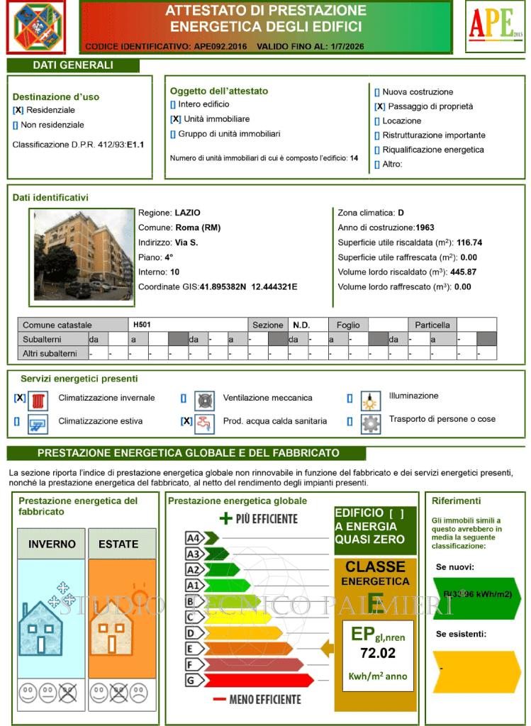 Attestato di prestazione energetica degli edifici APE