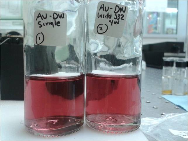 It´s not jamaica water, It is a colloidal solution of Au nanoparticles, which was obtained by pulsed laser ablation in distilled water
