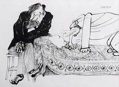Transfert négatif dans la cure psychanalytique. illustration de Ralph Steadman, caricaturiste britannique.