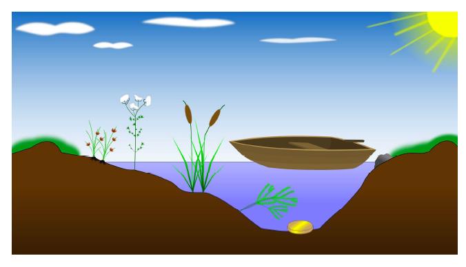 Grafik Boot auf Wasser und Münze auf dem Grund