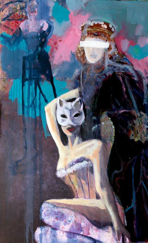 Stephanie Nückel     Behind   Acryl auf Malgrund   160 x 100 cm  2014