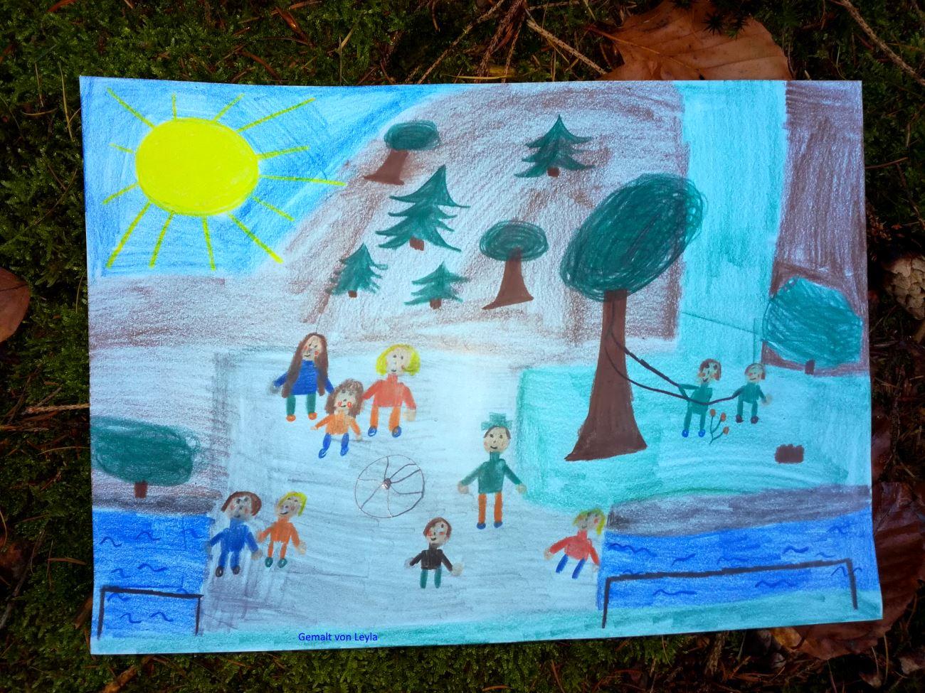 Bullerbachkinder auf der Brücke - gemalt von Leyla
