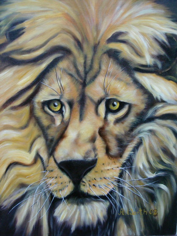 alter Löwe   2002      30 x 40 cm  Öl