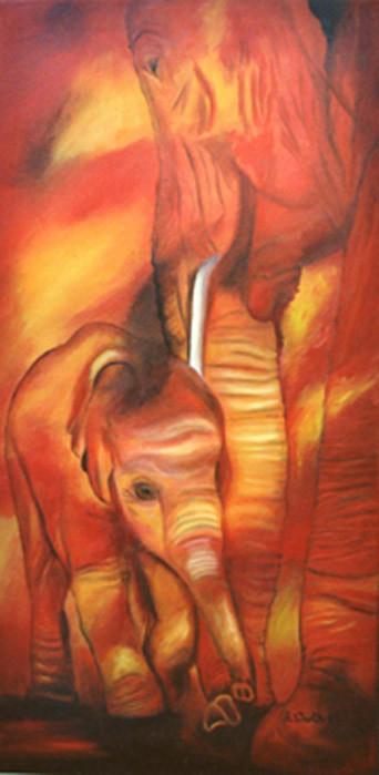 Elefantenkuh mit Kalb 2005   Öl  50 x 90 cm