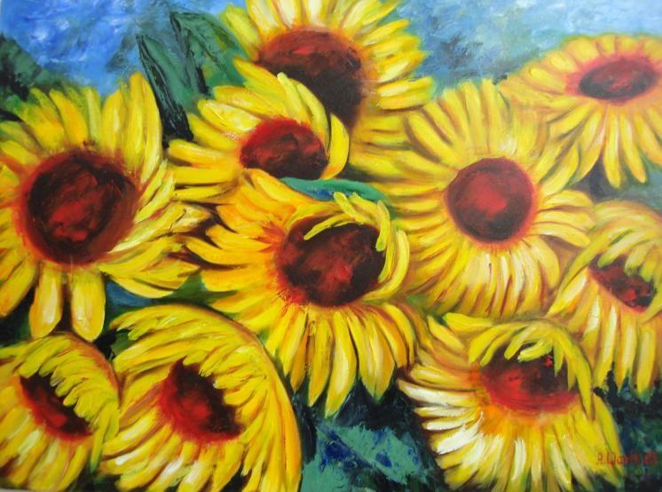 Sonnenblumen expressiv   2003     80 x 60 cm