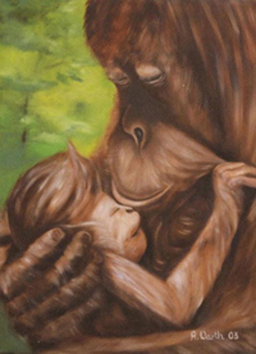Orang Utan Mama mit Baby  2003  Öl    30 x 40 cm