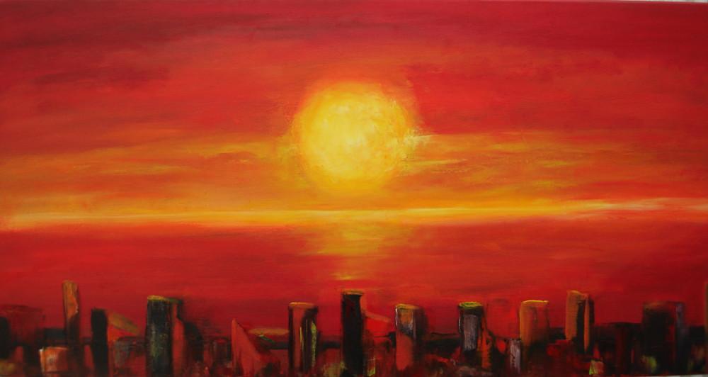 Sonnenuntergang/Skyline 2015   100 x 50 cm