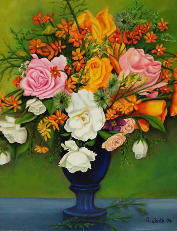 Rosen in blauer Vase     2004    50 x 60 cm