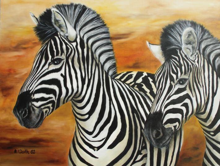 Zebras 2002   Öl  60 x 50 cm