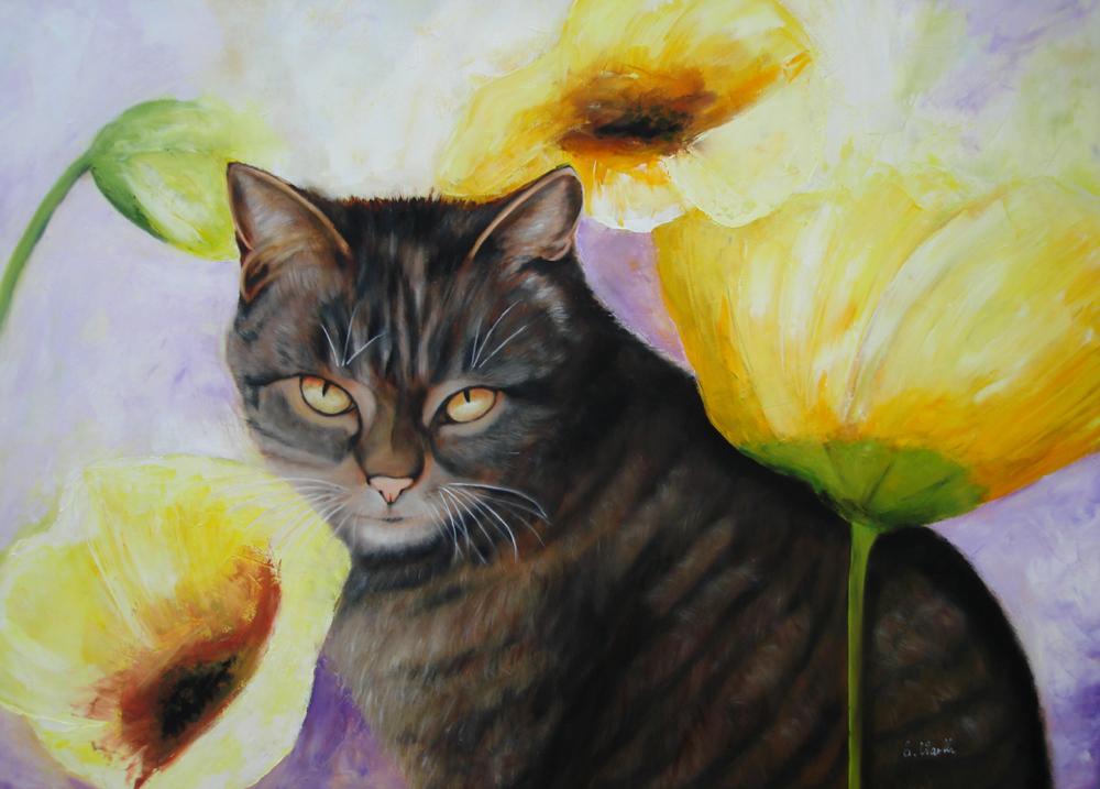 Blumentiger 2016  Öl  90 x 70 cm