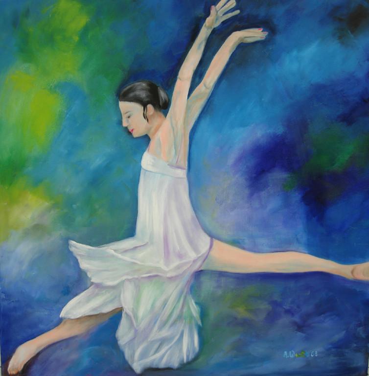 Ballerina 2008   Öl        70 x 70 x 4 cm