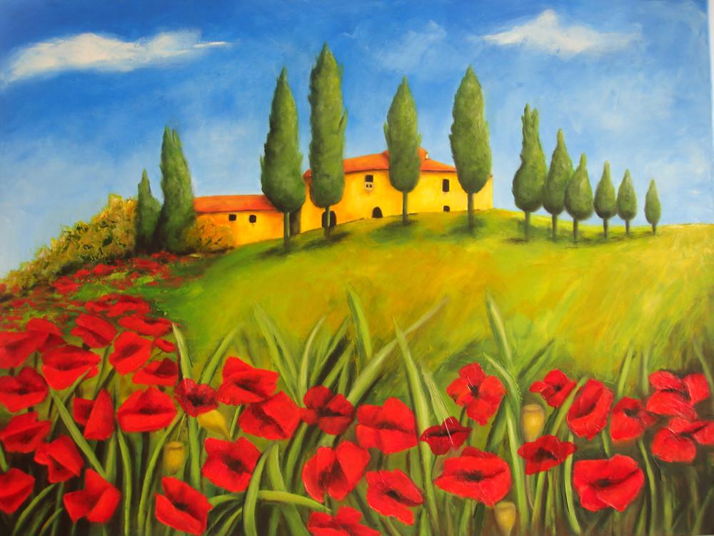 Toscana 2015, Öl gespachtelt, 80 x 60 cm