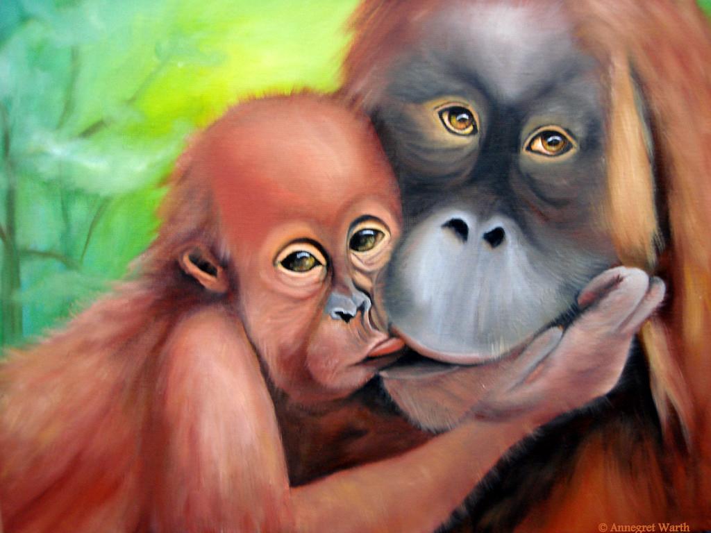 Orang Utan mit Baby  2011   Öl