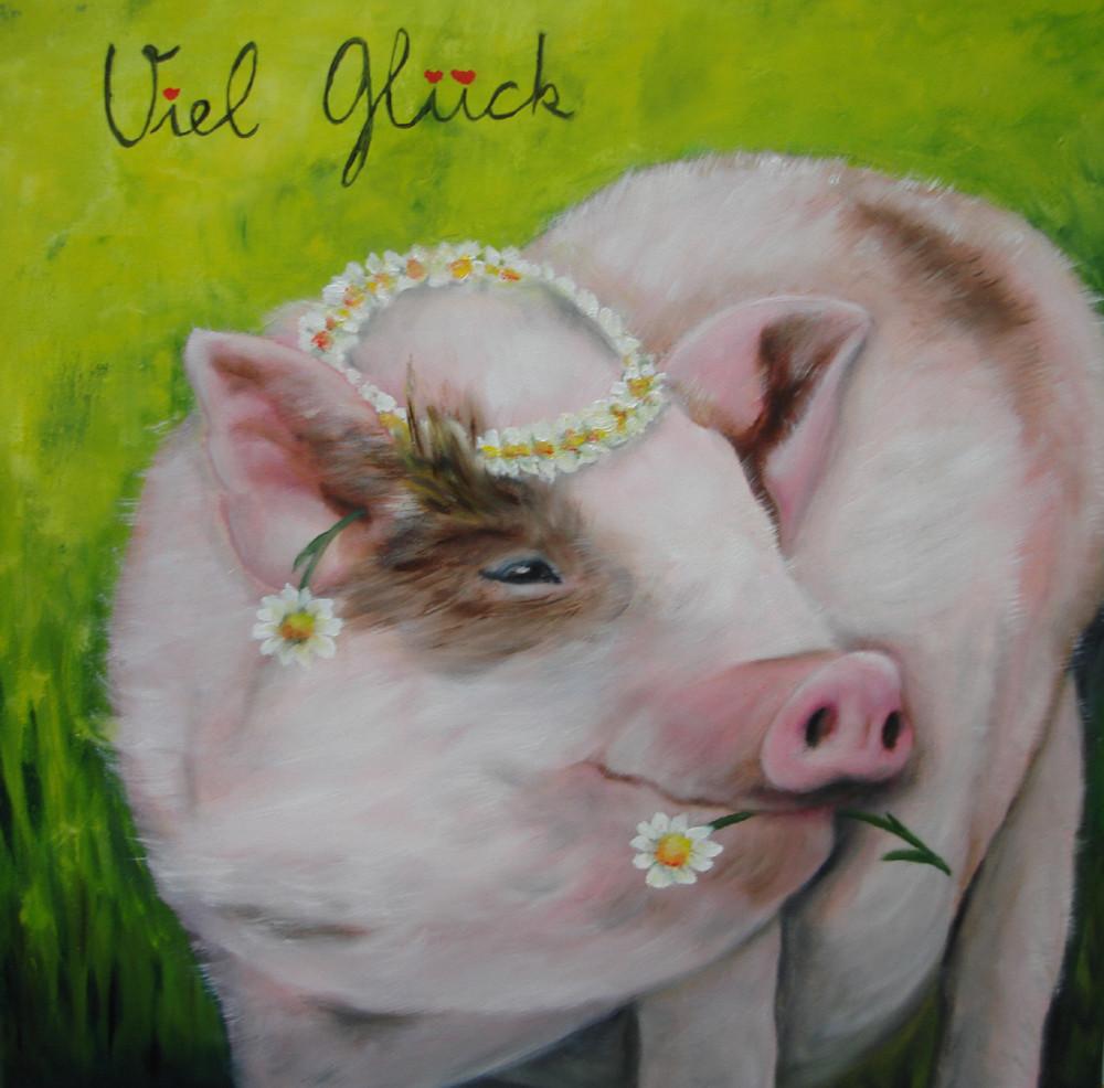 Hängebauchschwein Lucy, 2016   Öl 40 x 40 cm