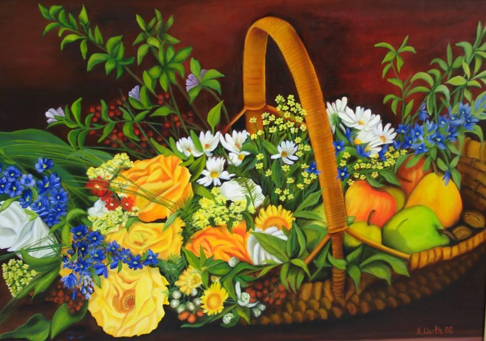 Blumenkorb mit Obst    2002       70 x 50 cm