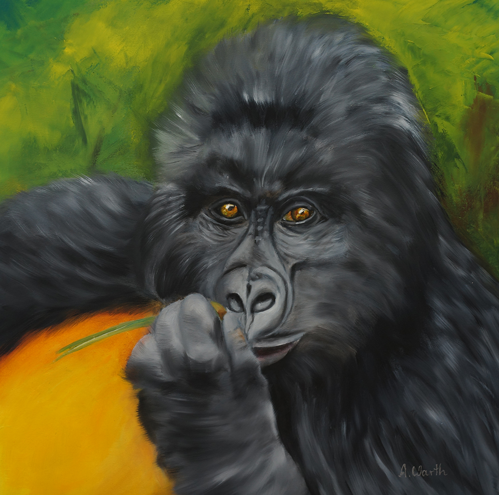 Berggorilla 2020, Öl  40 x 40 cm